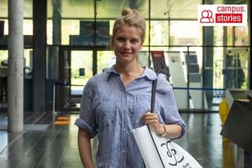 Student Lea Helle at the Foyer of St. Pölten UAS